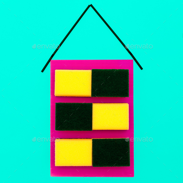 House made of sponges. Minimal art design. - Stock Photo - Images