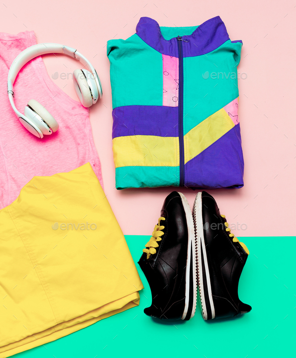 Vanilla Sport Outfit Windbreaker Sneakers Active Headphones urba - Stock Photo - Images