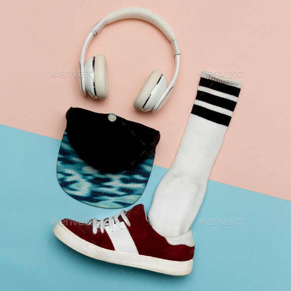 Flat lay fashion set: Fashion skateboard shoes, fashion stocking - Stock Photo - Images