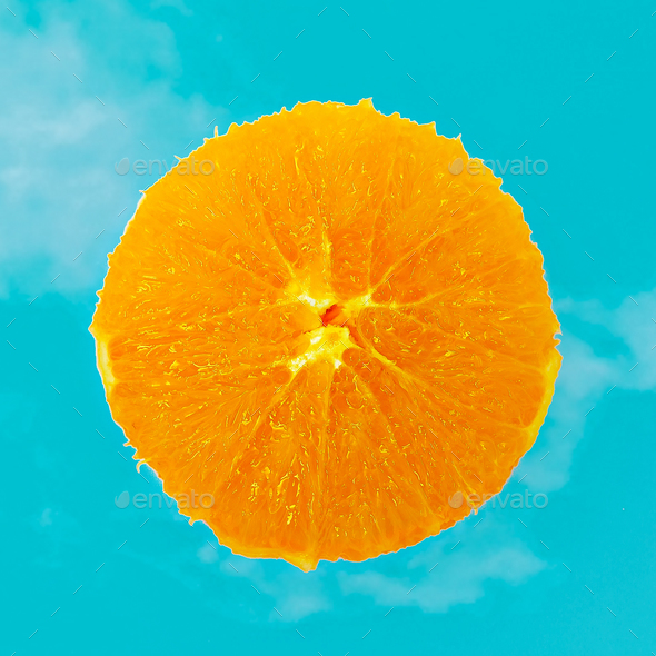 Fresh Orange minimal art Flat lay design - Stock Photo - Images