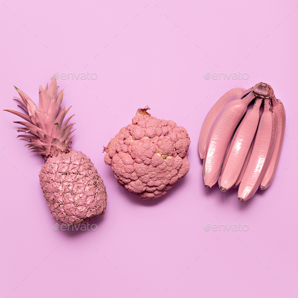 Mix fruits and vegetables in pink paint Surreal minimal art Stil - Stock Photo - Images