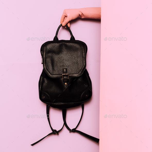 Stylish clothes. Fashion accessory. Backpack. wardrobe ideas tre - Stock Photo - Images