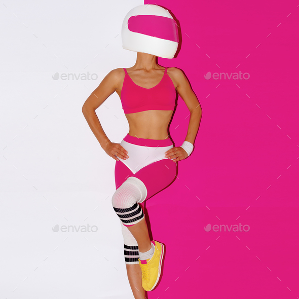 Fitness and Moto. Girl in helmet. Minimal art. - Stock Photo - Images
