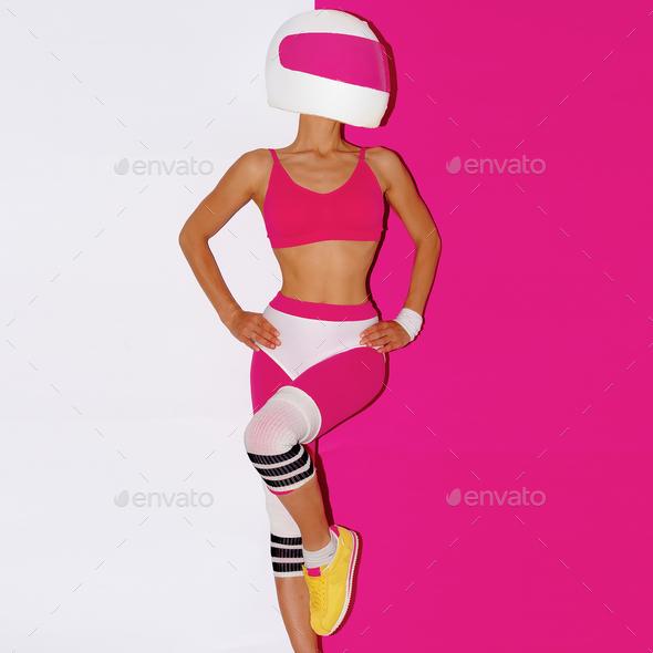 Fitness and Moto. Girl in helmet. Minimal art. - Stock Photo - Images