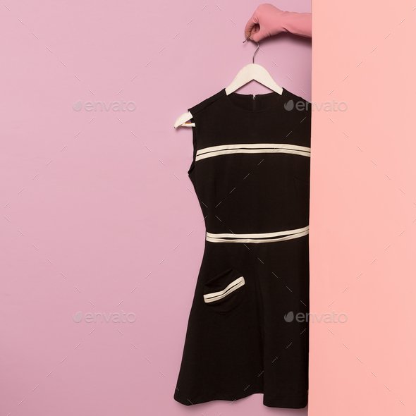 Stylish clothes. Black vintage dress. wardrobe ideas trend - Stock Photo - Images