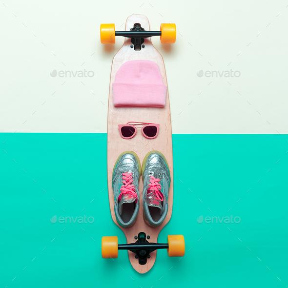 Girls love skateboard. Set skateboarder. Stylish active life. Sn - Stock Photo - Images