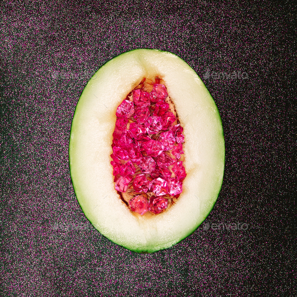 Glamorous Melon Stones Rhinestones Minimal art - Stock Photo - Images