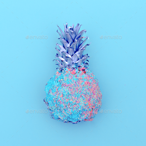 Pineapple in sequins. Minimal art - Stock Photo - Images
