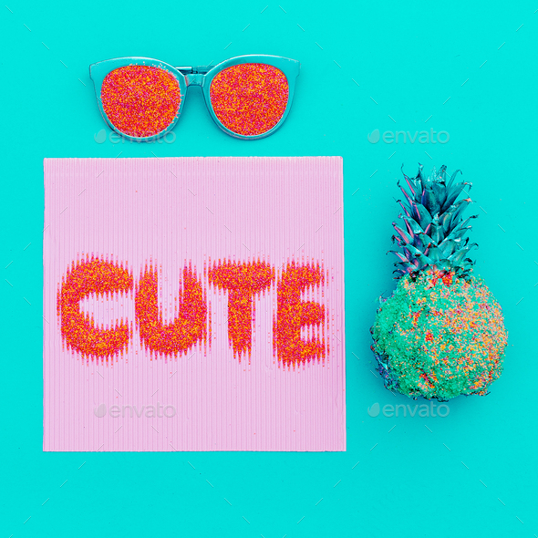 Cute trendy minimal art.Glasses and pineapple. - Stock Photo - Images
