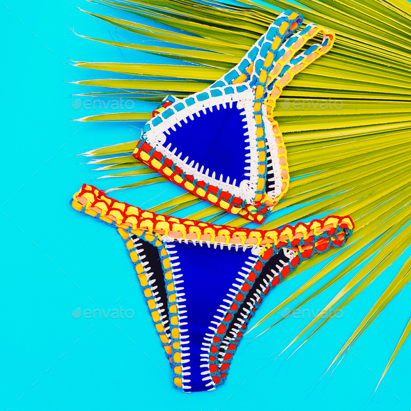Beach time. Vacation. Stylish Bikini for Girls - Stock Photo - Images