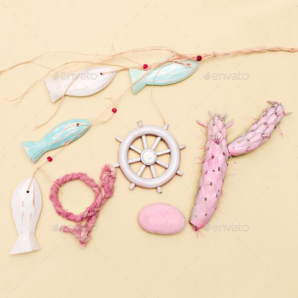 Ocean, beach, sun mood. Minimal art gift set - Stock Photo - Images