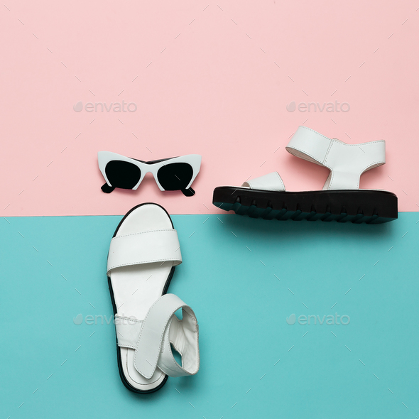 Stylish Clothing Fashion Accessories. Sandals and sunglasses. Su - Stock Photo - Images