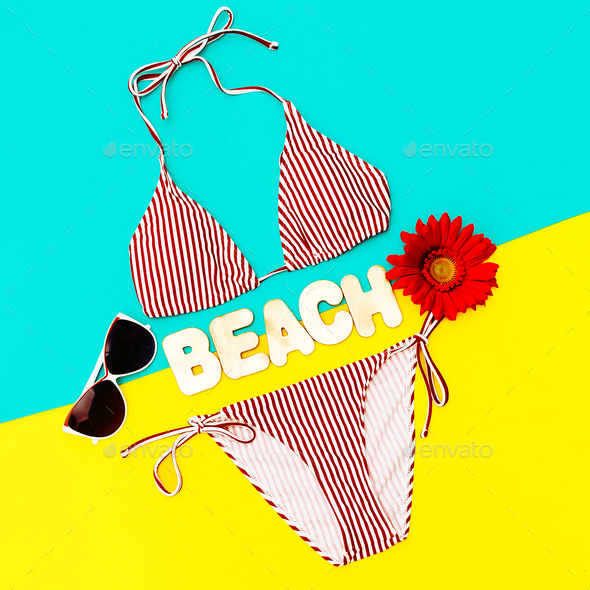 Stylish Bikini and accessories. Sunglasses. Trend Beach style - Stock Photo - Images