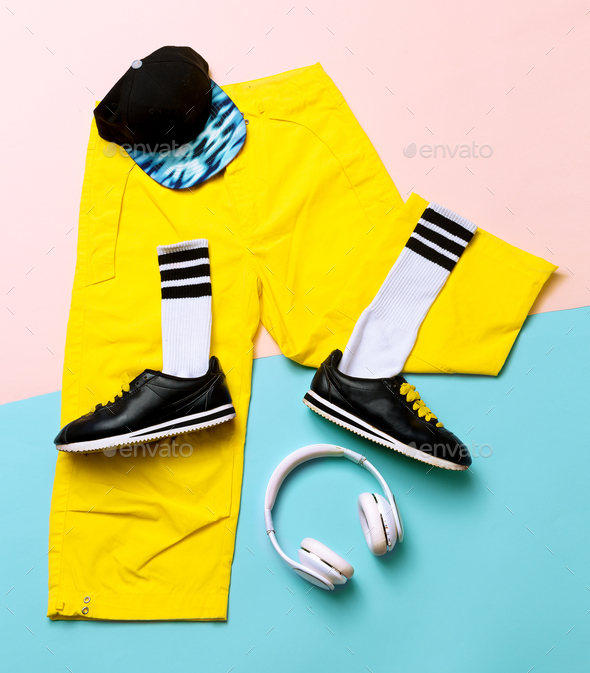 Fashion Training Sneakers and fashion socks. Hipster outfit Art - Stock Photo - Images