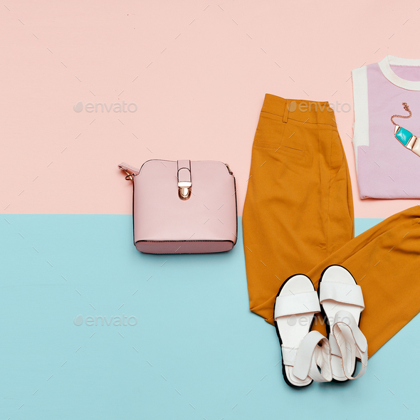 Summer outfit Vanilla Lady Pants Sandals Minimal Design Bag Fash - Stock Photo - Images