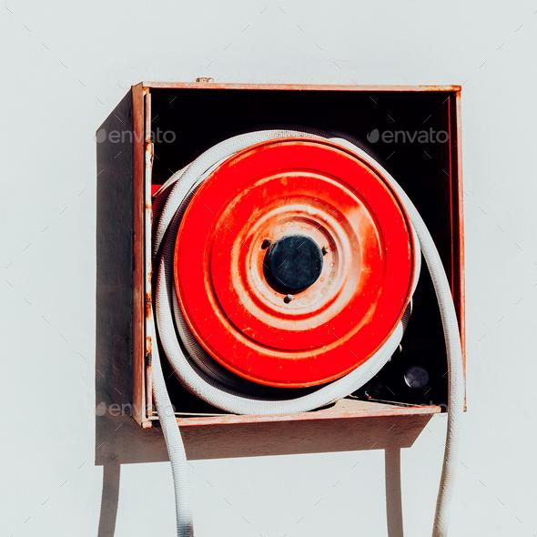 Fire hose. Modern minimal art object - Stock Photo - Images