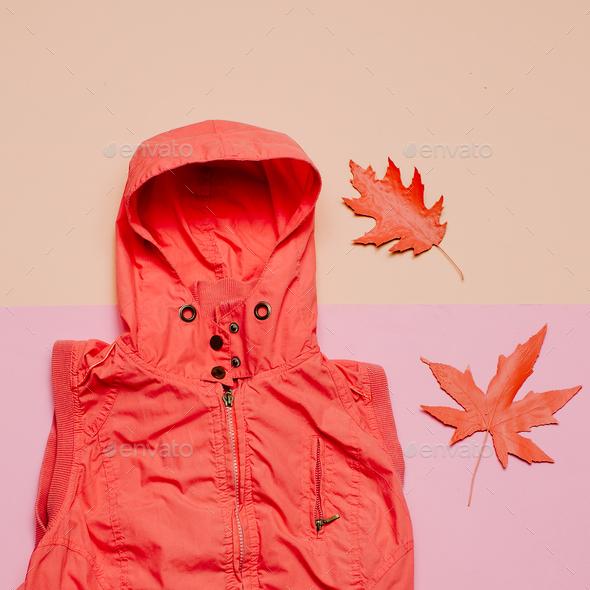 Minimal creative art. Hood and a piece Hello rainy season - Stock Photo - Images