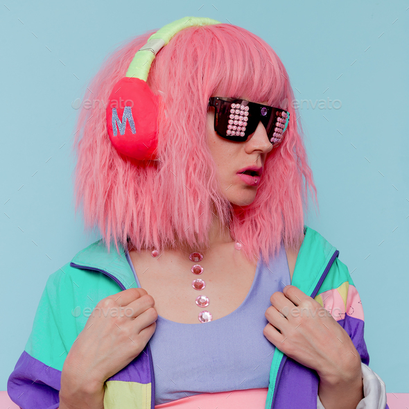 Minimal pop art style. Creative DJ girl. - Stock Photo - Images