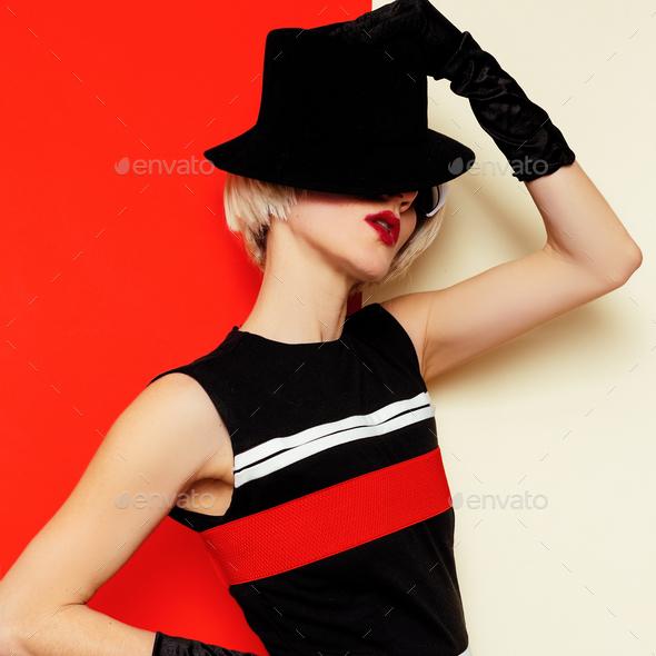 Sexy Blonde retro style vintage clothing. Minimal Fashion. Cabar - Stock Photo - Images