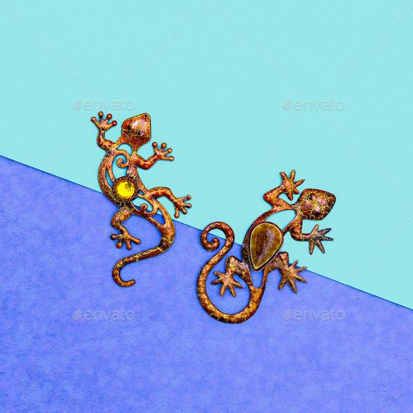 Lizards. Art souvenir. Minimal - Stock Photo - Images