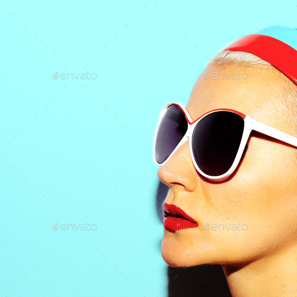 Model in stylish glasses Beach style Retro fashion vibes - Stock Photo - Images