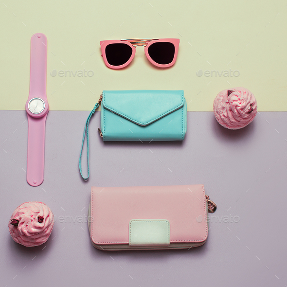 Ladies Fashion Accessories. Wallet, watch, necklace, glasses. Pa - Stock Photo - Images