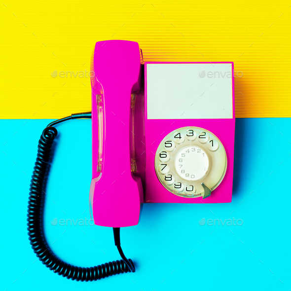 Retro pink phone. Minimal design art - Stock Photo - Images