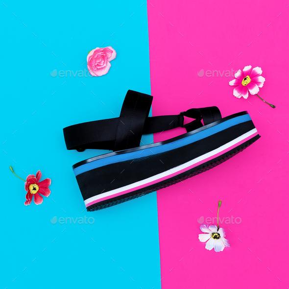 Platform trend. Stylish shoes for lady. - Stock Photo - Images