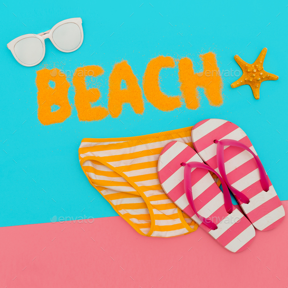 Beach mood. Summer time. Minimal art set - Stock Photo - Images