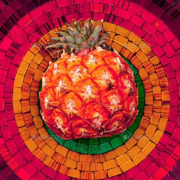 Pineapple on bright background. Mosaic. Minimal Tropical style - Stock Photo - Images