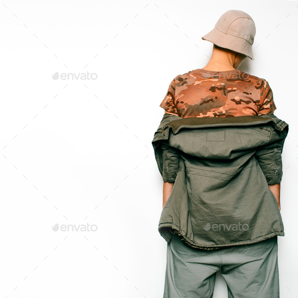 Military Fashion Style. Urban Hipster Fashion Model Dancer - Stock Photo - Images
