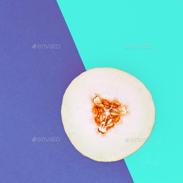 Melon. Love fruit. Fresh tropical ideas. Minimal Creative art - Stock Photo - Images