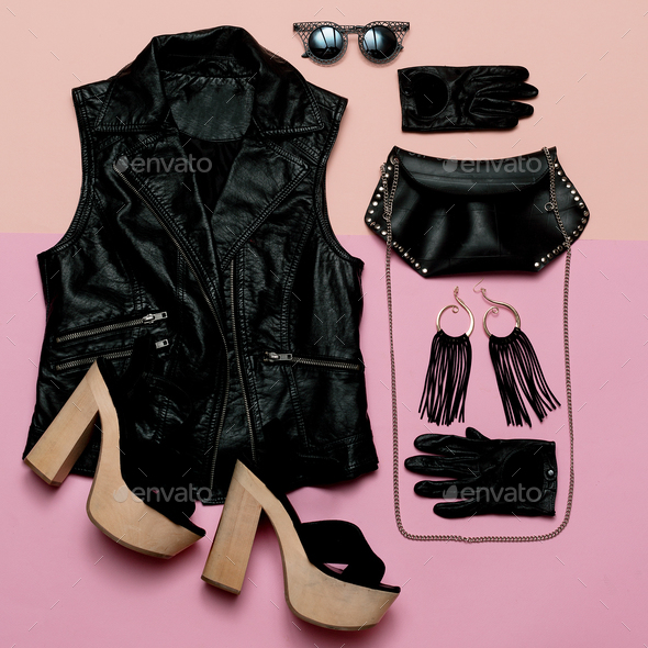 Stylish Lady Outfit rock style Vest and black accessories, fashi - Stock Photo - Images