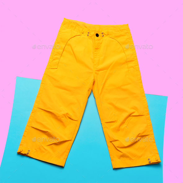 Yellow pants hipster trend. Minimal design fashion - Stock Photo - Images