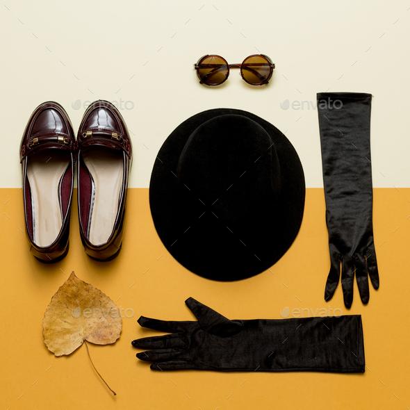 Vintage outfit Hat, gloves, sunglasses. Shoes. Autumn Lady Retro - Stock Photo - Images