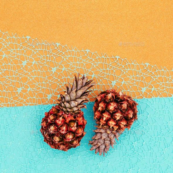 Two mini pineapple Minimal art - Stock Photo - Images