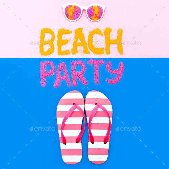 Beach Party Vacation Set Flip flops Minimal Fashion Art - Stock Photo - Images