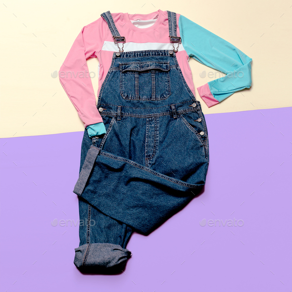 Fashionable denim overalls. Stylish clothes. Urban fashion - Stock Photo - Images
