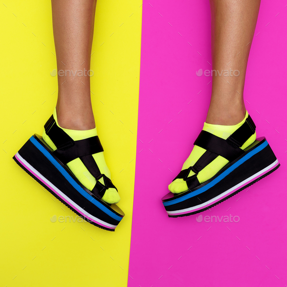 Platform trend. Stylish shoes for girls - Stock Photo - Images