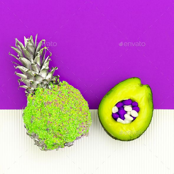 Avocado and pineapple Art Minimal design - Stock Photo - Images