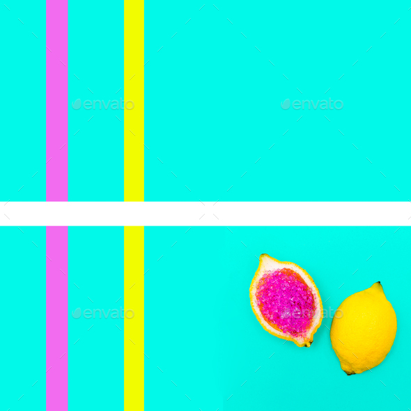 Art gallery. Fashion Glitter Lemon Yellow mood geometry Minimal - Stock Photo - Images