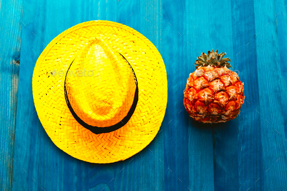 Pineapple and straw hat. Beach cocktail. Tropical Minimal. Fresh - Stock Photo - Images