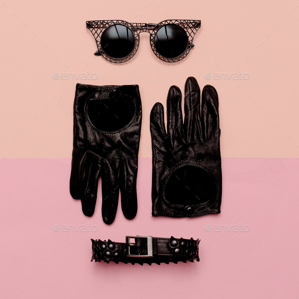Clothes top view Women's Accessories Gloves, sunglasses, choker. - Stock Photo - Images