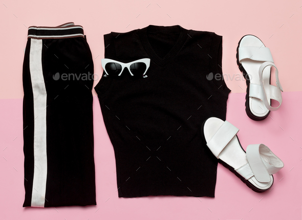 Black Fashion clothing set. For woman. Urban casual style - Stock Photo - Images