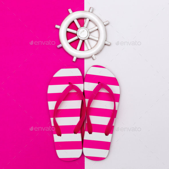 Flip-flops. Sea style. Let's go to the beach. Minimal design - Stock Photo - Images