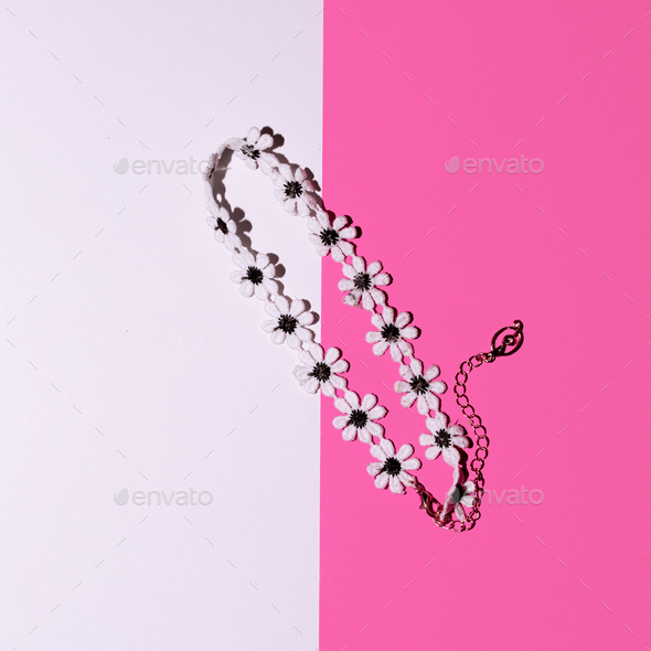 Stylish jewelry. Summer Choker. Top view - Stock Photo - Images