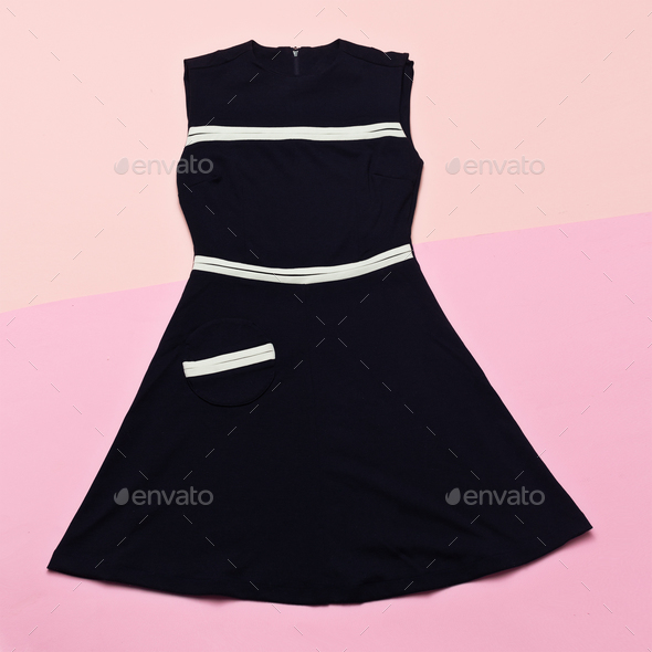 Black Vintage dress. Retro Glam Top view - Stock Photo - Images