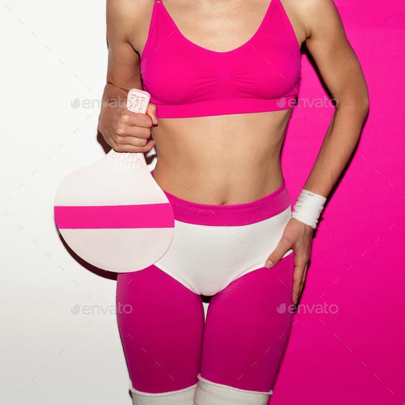 Minimal pop art beach sports fashion Lady - Stock Photo - Images