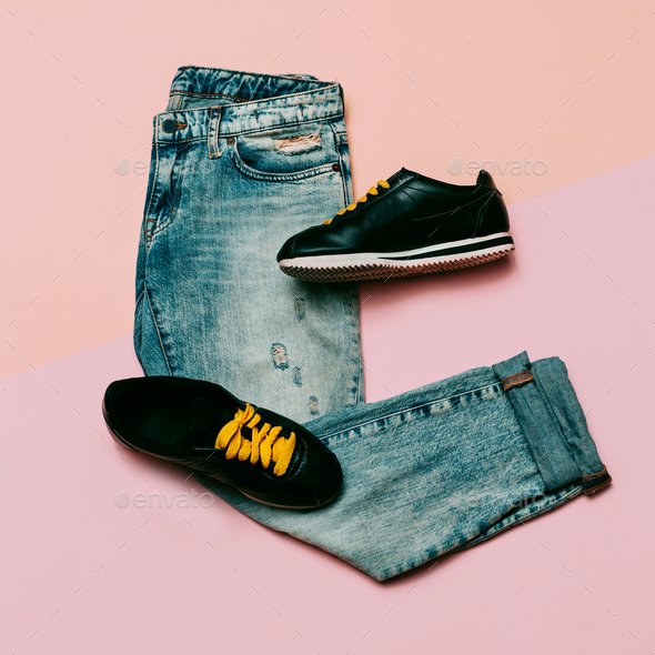 Jeans and sneakers. Urban outfit. Top view. Minimal design - Stock Photo - Images