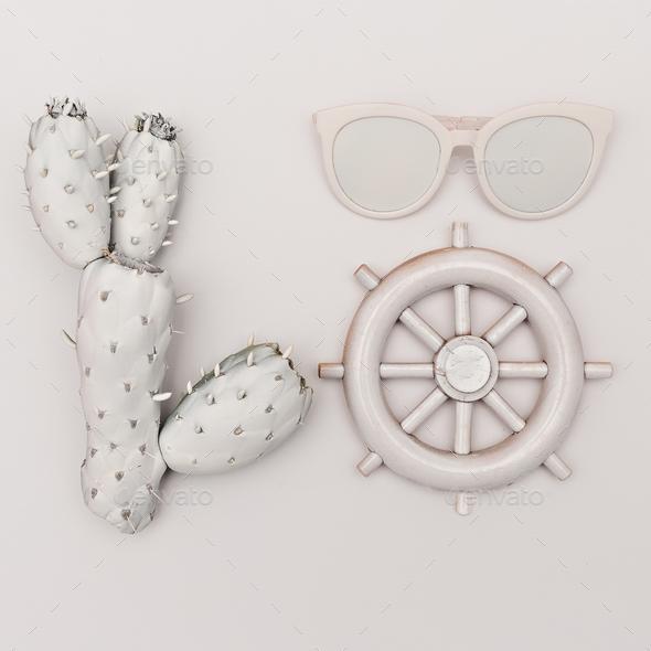 Marine set. Cactus, glasses, helm. White paint. Minimal - Stock Photo - Images